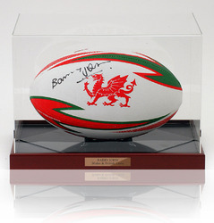 Barry John Hand Signed WRU Rugby Union Ball