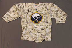 Nathan Gerbe Buffalo Sabres Special Edition Camouflage Jersey Worn on Veteran's Day during Pre-Game Skate on 11/11/11 Size 52