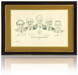 Surrey C.C.C. Art Print Hand Signed by Bedser Twins Edrich.