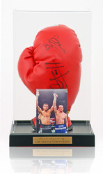 Carl Froch & George Groves Hand Signed Boxing Glove in display case