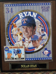 Nolan Ryan signed card and plaque