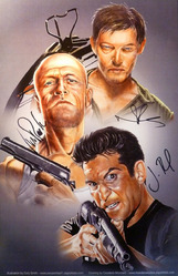 11x17 print by Smith and Mondero, signed by Michael Rooker, Norman Reedus & Jon Bernthal