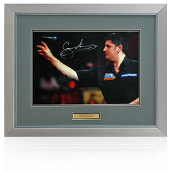 "Gary Anderson Hand Signed 16x12"" Framed Darts Photograph"