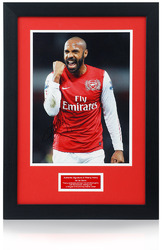 "THIERRY HENRY Hand Signed ARSENAL FC. 25x19"" Framed Photo Presentation"