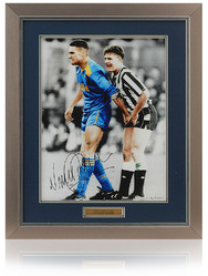 "Iconic Paul Gascoinge 16x12"" photograph hand signed by Vinnie Jones Wimbledon"