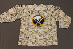 Jason Pominville Buffalo Sabres Special Edition Camouflage Jersey Worn on Veteran's Day during Pre-Game Skate on 11/11/11 Size 54