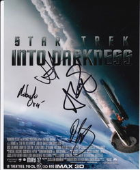 TAR TREK INTO DARKNESS Autographs signed in person 10 x 8 photo by 4