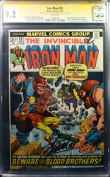 Marvel, Iron Man #55 comic book signed by Stan Lee