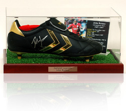 JOHN BARNES Hand Signed Football Boot Display