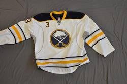 Jordan Leopold Game Worn Buffalo Sabres Away Jersey 2010-11 Season Set 3 Size 56 Serial #4231