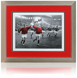 Nobby Stiles hand signed George Best photgraph