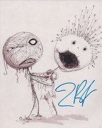 Tim Burton AUTOGRAPH Sketch SIGNED IN PERSON 10x8 photo