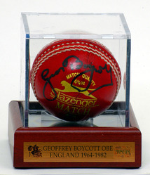 Geoffrey Boycott Hand Signed Cricket Ball
