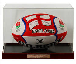 MARTIN JOHNSON Hand Signed England Rugby Ball