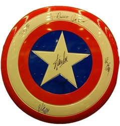 Captain America Shield signed in person by 7 including Chris Evans & Stan Lee
