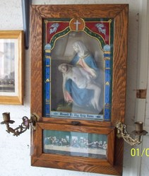 Antique Oak Wall Altar