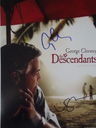 Clooney, George & Woodley, Shailene - authentic autograph - The Descendants