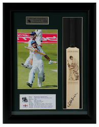 Framed Mini Bat hand signed by Michael Vaughan