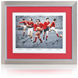 WALES Rugby Legends Montage Hand Signed by 5