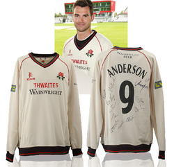 James Anderson Match Worn Squad Signed Lancashire CCC Jersey