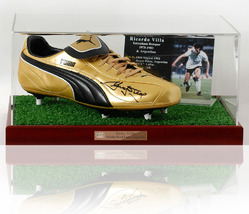 Ricky Villa hand signed football boot in Display