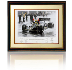 Senna's First GP win, hand signed by the 12 members of the Lotus crew.