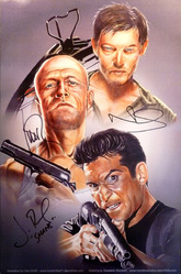 11x17 print by Cory Smith and Diosdado Mondero signed by Michael Rooker, Norman Reedus & Jon Bernthal.