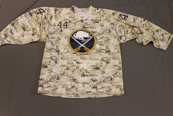 Andrej Sekera Buffalo Sabres Special Edition Camouflage Jersey Worn on Veteran's Day during Pre-Game Skate on 11/11/11 Size 56