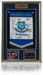 EVERTON 1984/5 ECWC Squad Hand Signed Pennant