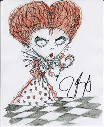 Tim Burton Signed 10x8 Photo Queen of Hearts