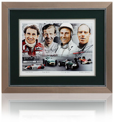 "16x12"" Photo Montage Hand Signed by four F1 Legends"