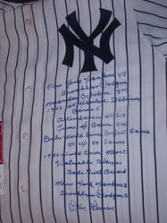 Limited edition 56 Perfect Game stat jersey hand signed by Don Larsen