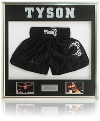 MIKE TYSON Hand Signed Boxing Trunks Shorts Presentation