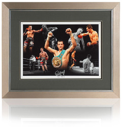 "CARL FROCH hand signed 16x12"" framed montage"