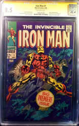 Marvel, Iron Man #1comic book signed by Stan Lee