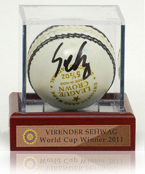 Virender Sehwag signed Cricket Ball