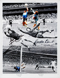 Gordon Banks & Peter Shilton dual hand signed montage