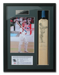 Alec Stewart Hand Signed Mini Cricket Bat presentation.