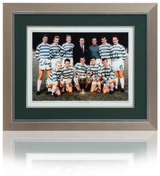 "CELTIC Hand Signed by 7 Lisbon Lions 16x12"" Framed team group photo"