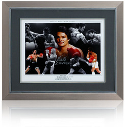 Roberto Duran hand signed framed montage