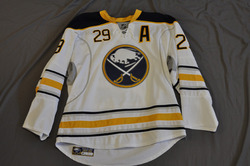 "Jason Pominville Game Worn Buffalo Sabres Away Jersey ""A"" 2010-11 Season Set 3 Size 54 Serial #4225"