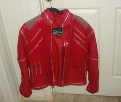 "RED SIGNED MICHAEL JACKSON "" BEAT IT"" JACKET"