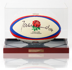 Jason Leonard OBE hand signed Rugby Ball in display case
