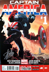 Marvel, Captain America #1, Marvel Now, Direct Edition, 001 signed by Stan Lee