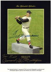 Ted Williams signed picture of Hall of Fame statue.