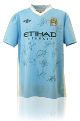 MANCHESTER CITY 2011/12 Hand Signed LEAGUE CHAMPIONS Shirt
