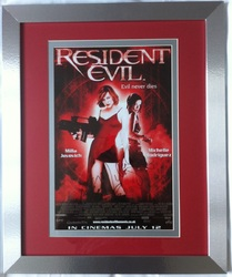 Milla Jovovich & Paul W.S. Anderson Signed Resident Evil Mini Poster Framed