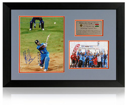Mahendra Singh Dhoni World Cup 2011 hand signed presentation