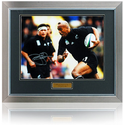 Jonah Lomu Hand Signed New Zealand Rugby All Blacks Photo