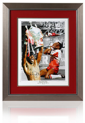 MARTIN OFFIAH hand signed Wigan Warriors Rugby League montage